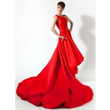 A-Line/Princess One-Shoulder Asymmetrical Charmeuse Prom Dress With Beading