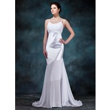 Sheath/Column Scoop Neck Sweep Train Chiffon Charmeuse Wedding Dress With Ruffle (002012670)