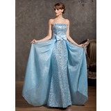Sheath Strapless Floor-Length Organza Satin Prom Dress With Sequins