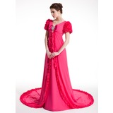 A-Line/Princess V-neck Chapel Train Chiffon Prom Dress With Ruffle Beading Bow(s)