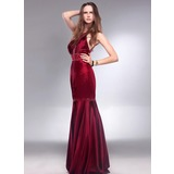 Mermaid Scoop Neck Floor-Length Charmeuse Evening Dress With Beading Sequins (017013061)