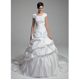 Ball-Gown Scoop Neck Cathedral Train Satin Wedding Dress With Lace Beading Sequins
