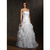 Mermaid Strapless Court Train Organza Satin Wedding Dress With Ruffle Beadwork Flower(s)