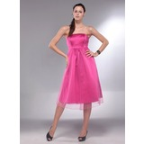 A-Line/Princess Strapless Knee-Length Satin Tulle Maternity Bridesmaid Dress With Ruffle (045013064)