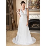 A-Line/Princess Halter Court Train Chiffon Wedding Dress With Ruffle Lace Beadwork