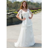Empire V-neck Sweep Train Chiffon Wedding Dress With Ruffle Flower(s) (002024596)