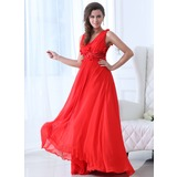 A-Line/Princess V-neck Floor-Length Chiffon Holiday Dress With Ruffle Beading Flower(s) (020017333)