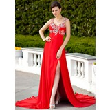 Empire Sweetheart Court Train Chiffon Evening Dress With Beading Appliques