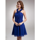 Empire Halter Knee-Length Chiffon Homecoming Dress With Ruffle (022020864)