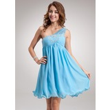 Empire One-Shoulder Knee-Length Chiffon Homecoming Dress With Ruffle Beading (022020914)
