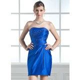 Sheath Sweetheart Short/Mini Satin Homecoming Dress With Ruffle Beading (022004342)