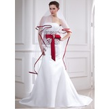 Mermaid Strapless Chapel Train Satin Wedding Dress With Lace Sash Crystal Brooch