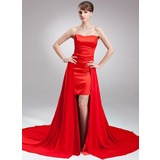 Sheath Sweetheart Asymmetrical Chiffon Satin Holiday Dress