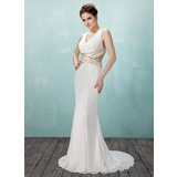 Mermaid V-neck Sweep Train Chiffon Prom Dress With Beading