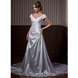 A-Line/Princess Off-the-Shoulder Court Train Charmeuse Wedding Dress With Ruffle Lace Beading