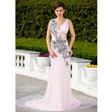Sheath V-neck Court Train Satin Tulle Lace Evening Dress With Ruffle Beading Appliques (017017399)