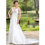 Empire V-neck Court Train Charmeuse Wedding Dress With Ruffle Beading