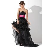 A-Line/Princess Sweetheart Asymmetrical Organza Satin Prom Dress With Sash Beading Cascading Ruffles