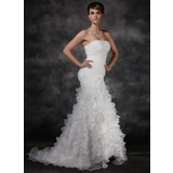 Mermaid Strapless Court Train Organza Satin Wedding Dress With Ruffle (002017165)