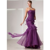 Trumpet/Mermaid Strapless Floor-Length Organza Prom Dress With Cascading Ruffles