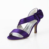 Women's Satin Spool Heel Peep Toe Sandals With Bowknot (047029878)