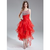 A-Line/Princess One-Shoulder Asymmetrical Organza Prom Dress With Beading Sequins Cascading Ruffles