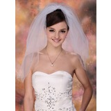 Two-tier Blusher Bridal Veils With Cut Edge