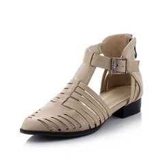 Leatherette Flat Heel Flats Closed Toe With Buckle shoes