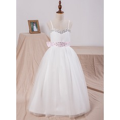 Ball Gown Floor-length Flower Girl Dress - Satin/Tulle Sleeveless Straps With Bow(s)/Rhinestone