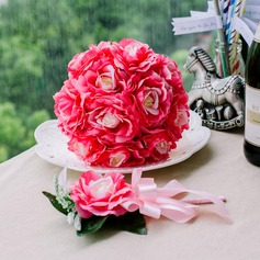 Charming Round Satin Flower Sets(Including Boutonniere, Bridal Bouquets)