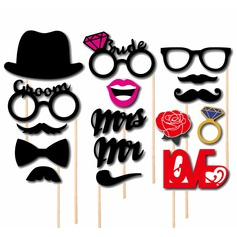 "Photo Booth Props Paper  ""Mr. & Mrs.""/""LOVE"" Photo Booth Props Wedding Decorations"
