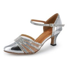 Sparkling Glitter Patent Leather Heels Pumps Modern Dance Shoes With Ankle Strap