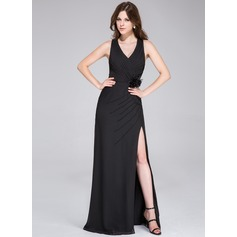 Sheath/Column V-neck Floor-Length Chiffon Evening Dress With Ruffle Beading Flower(s) Split Front