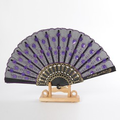 Floral Design Bamboo Silk Fan (Set of 6)