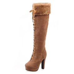 Women's Suede Chunky Heel Pumps Platform Closed Toe Boots Knee High Boots shoes