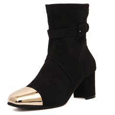 Suede Chunky Heel Boots Mid-Calf Boots With Buckle Others shoes