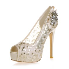Women's Lace Stiletto Heel Peep Toe Platform Sandals With Rhinestone Sequin