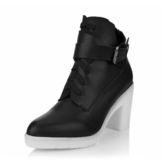 Real Leather Chunky Heel Ankle Boots With Buckle Lace-up shoes