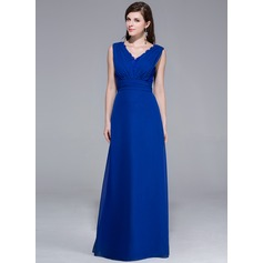 A-Line/Princess V-neck Floor-Length Chiffon Evening Dress With Ruffle Lace