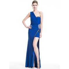 Sheath/Column One-Shoulder Floor-Length Jersey Evening Dress With Beading Sequins