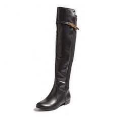 Women's Leatherette Flat Heel Boots Knee High Boots With Buckle shoes