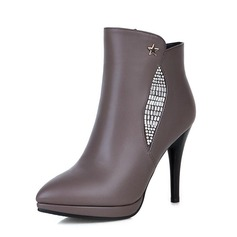 Women's Leatherette Stiletto Heel Pumps Closed Toe Ankle Boots With Crystal Sequin shoes