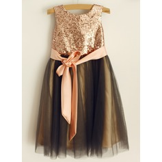 Ball Gown Tea-length Flower Girl Dress - Tulle/Sequined Sleeveless Scoop Neck With Sash