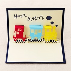 Three-dimensional Happy Train Greeting Cards