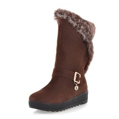Suede Flat Heel Mid-Calf Boots Snow Boots With Buckle shoes