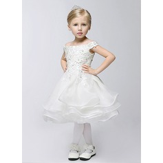 A-Line/Princess Tea-length Flower Girl Dress - Cotton Short Sleeves Off-the-Shoulder With Appliques/Rhinestone