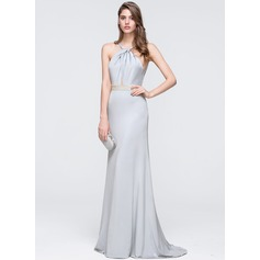 Sheath/Column Halter Sweep Train Jersey Prom Dress With Beading