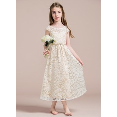 A-Line/Princess Scoop Neck Ankle-Length Chiffon Junior Bridesmaid Dress With Beading Bow(s)