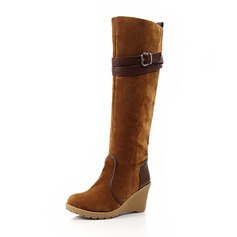 Suede Wedge Heel Knee High Boots Snow Boots With Buckle shoes