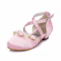 Kids' Silk Like Satin Low Heel Closed Toe Pumps With Buckle Flower